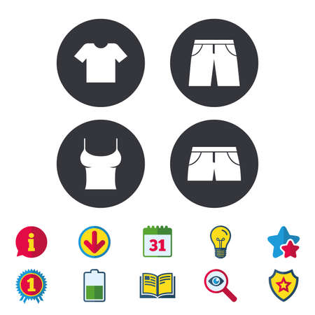 Clothes icons. T-shirt and pants with shorts signs. Swimming trunks symbol. Calendar, Information and Download signs. Stars, Award and Book icons. Light bulb, Shield and Search. Vector