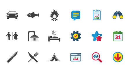 Hiking travel icons. Camping, shower and wc toilet signs. Tourist tent, fork and knife symbols. Calendar, Report and Download signs. Stars, Service and Search icons. Statistics, Binoculars and Chat