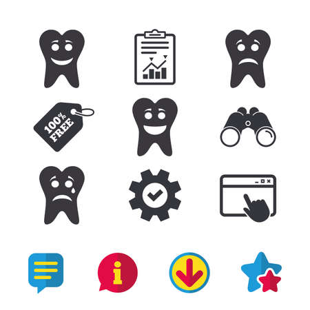 Tooth happy, sad and crying faces icons. Dental care signs. Healthy or unhealthy teeth symbols. Browser window, Report and Service signs. Binoculars, Information and Download icons. Stars and Chat Illusztráció