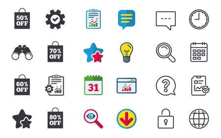 판매 가방 태그 아이콘입니다. 특별 할인 기호를 할인하십시오. 50 %, 60 %, 70 % 및 80 %의 부호가 사라집니다. 채팅, 신고 및 캘린더 표지판. 별, 통계 및 다