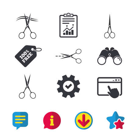 grooming: Scissors icons. Hairdresser or barbershop symbol. Scissors cut hair. Cut dash dotted line. Tailor symbol. Browser window, Report and Service signs. Binoculars, Information and Download icons. Vector