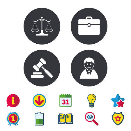 Scales of Justice icon. Client or Lawyer symbol. Auction hammer sign. Law judge gavel. Court of law. Calendar, Information and Download signs. Stars, Award and Book icons. Vector Ilustração