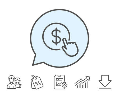 Hand Click line icon. Currency exchange sign. Cursor pointer symbol. To pay or get money. Report, Sale Coupons and Chart line signs. Download, Group icons. Editable stroke. Vector