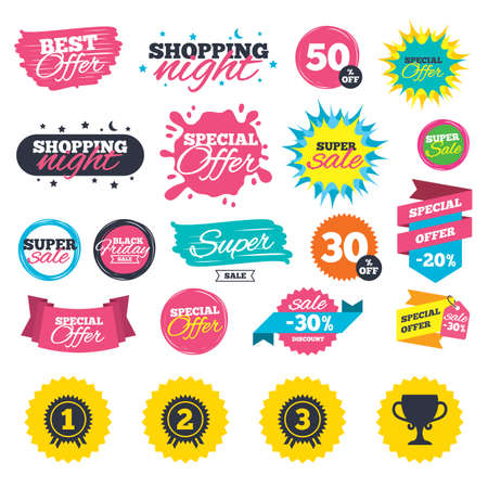 Sale shopping banners. First, second and third place icons. Award medals sign symbols. Prize cup for winner. Web badges, splash and stickers. Best offer. Vector