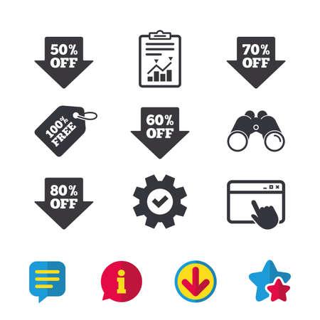 판매 화살표 태그 아이콘입니다. 특별 할인 기호를 할인하십시오. 50 %, 60 %, 70 % 및 80 %의 부호가 사라집니다. 브라우저 창, 보고서 및 서비스 표지판. 쌍