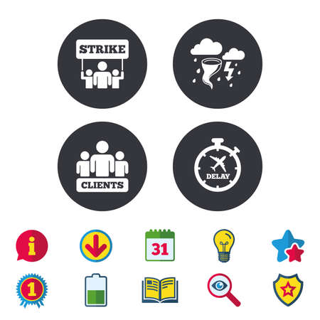 Strike icon. Storm bad weather and group of people signs. Delayed flight symbol. Calendar, Information and Download signs. Stars, Award and Book icons. Light bulb, Shield and Search. Vector