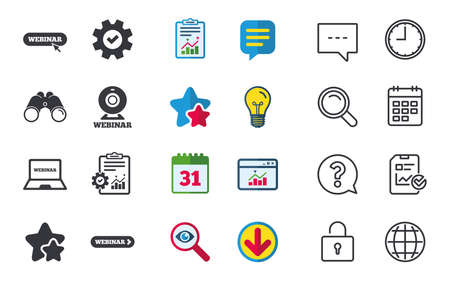 Webinar icons. Web camera and notebook pc signs. Website e-learning or online study symbols. Chat, Report and Calendar signs. Stars, Statistics and Download icons. Question, Clock and Globe. Vector