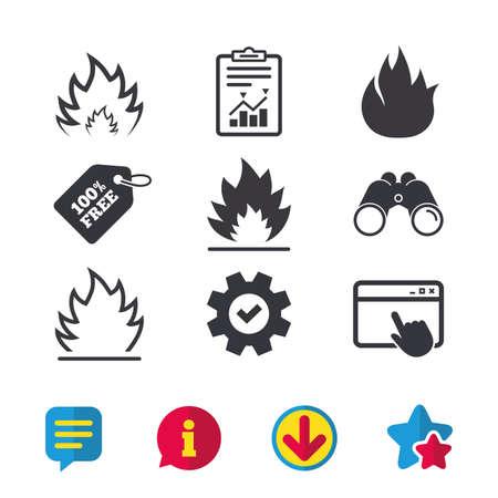 화재 불꽃 아이콘. 히트 심볼. 가연성 징후. 브라우저 창, 보고서 및 서비스 표지판. 쌍안경, 정보 및 다운로드 아이콘. 별과 채팅. 벡터
