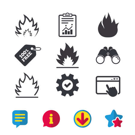 Fire flame icons. Heat symbols. Inflammable signs. Browser window, Report and Service signs. Binoculars, Information and Download icons. Stars and Chat. Vector Banco de Imagens - 82829925