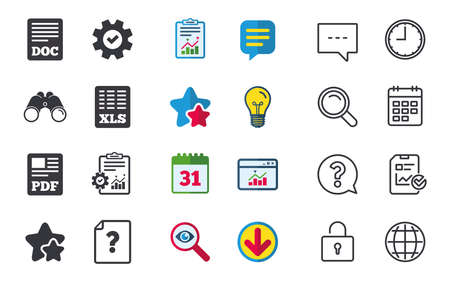 File document and question icons. XLS, PDF and DOC file symbols. Download or save doc signs. Chat, Report and Calendar signs. Stars, Statistics and Download icons. Question, Clock and Globe. Vector