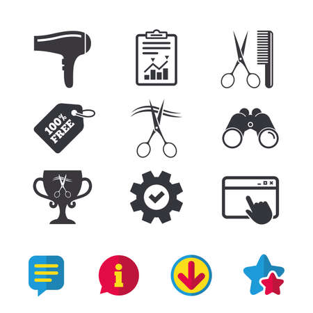Hairdresser icons. Scissors cut hair symbol. Comb hair with hairdryer symbol. Barbershop winner award cup. Browser window, Report and Service signs. Binoculars, Information and Download icons. Vector