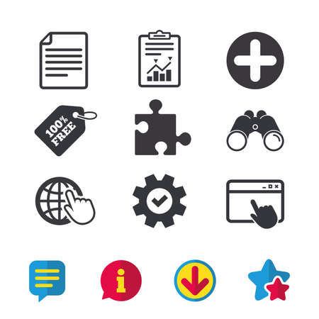 Plus add circle and puzzle piece icons. Document file and globe with hand pointer sign symbols. Browser window, Report and Service signs. Binoculars, Information and Download icons. Stars and Chat