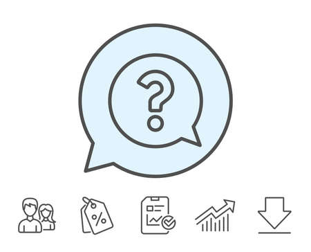 Question mark line icon. Help speech bubble sign. FAQ symbol. Report, Sale Coupons and Chart line signs. Download, Group icons. Editable stroke. Vector Ilustrace