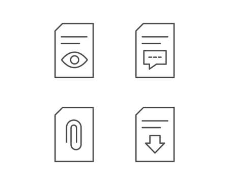 Document, Comment and Download line icons. Document Management, Attachment and Read file signs. Quality design elements. Editable stroke. Vector Иллюстрация