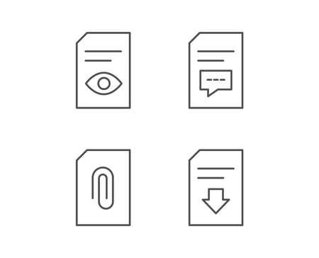 Lijnpictogrammen van documenten, opmerkingen en downloads. Documentbeheer, bijlagen en lees bestandstekens. Kwaliteitsontwerpelementen. Bewerkbare lijn. Vector