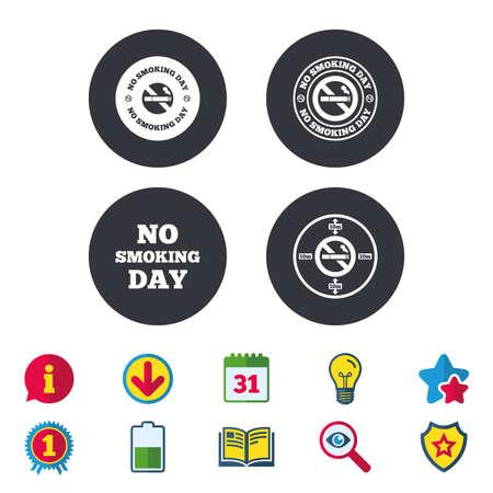 Niet roken dag pictogrammen. Tegen sigaretten tekenen. Stoppen met roken of stoppen met roken. Kalender, informatie en downloadborden. Pictogrammen voor sterren, awards en boeken. Gloeilamp, schild en zoeken. Vector