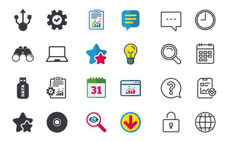 Usb flash drive icons. Notebook or Laptop pc symbols. CD or DVD sign. Compact disc. Chat, Report and Calendar signs. Stars, Statistics and Download icons. Question, Clock and Globe. Vector Иллюстрация