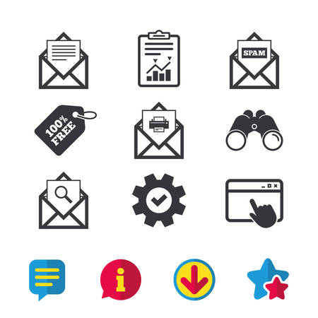 Mail envelope icons. Print message document symbol. Post office letter signs. Spam mails and search message icons. Browser window, Report and Service signs. Binoculars, Information and Download icons