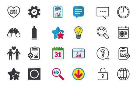 Condom safe sex icons. Lovers Gay couple signs. Male love male. Heart symbol. Chat, Report and Calendar signs. Stars, Statistics and Download icons. Question, Clock and Globe. Vector Illustration