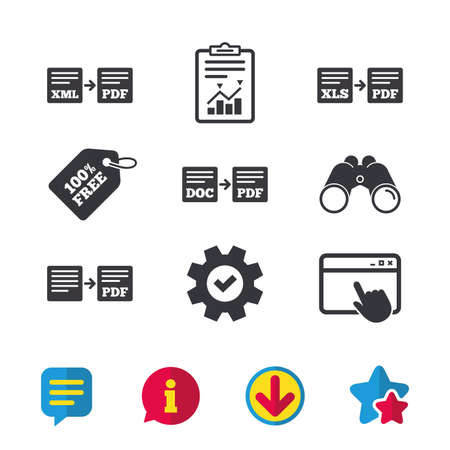 Export file icons. Convert DOC to PDF, XML to PDF symbols. XLS to PDF with arrow sign. Browser window, Report and Service signs. Binoculars, Information and Download icons. Stars and Chat. Vector Çizim