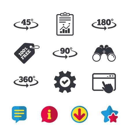 角度 45 360 度アイコン。幾何学の数学記号に署名します。完全回転矢印に当てます。ブラウザー ウィンドウ、レポートとサービスの兆候。双眼鏡は