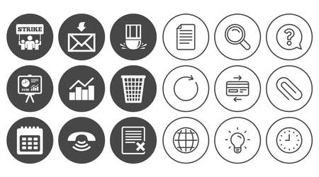 Office, documents and business icons. Call, strike and calendar signs. Mail, presentation and charts symbols. Document, Globe and Clock line signs. Lamp, Magnifier and Paper clip icons. Vector Ilustrace