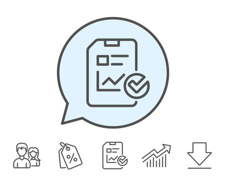 checklist: Report document line icon. Analysis Chart or Sales growth report sign. Statistics data or Checklist symbol. Report, Sale Coupons and Chart line signs. Download, Group icons. Editable stroke. Vector