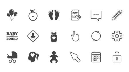 Pregnancy, maternity and baby care icons. Air balloon, baby carriage and pacifier signs. Footprint, apple and newborn symbols. Chat, Report and Calendar line signs. Service, Pencil and Locker icons 向量圖像