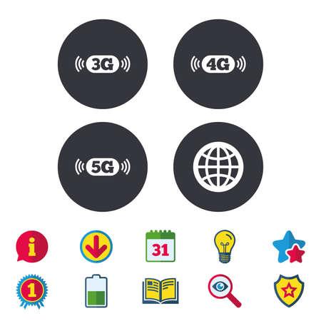 Icônes de télécommunications mobiles. Symboles de technologie 3G, 4G et 5G. Signe du monde entier. Calendrier, informations et panneaux de téléchargement. Étoiles, prix et icônes de livre. Ampoule, Bouclier et Recherche. Vecteur Vecteurs