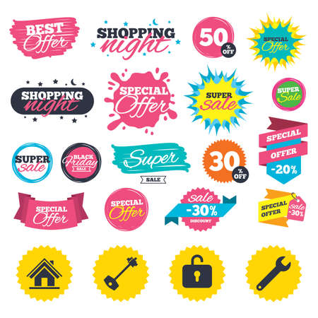 Sale shopping banners. Home key icon. Wrench service tool symbol. Locker sign. Main page web navigation. Web badges, splash and stickers. Best offer. Vector 向量圖像