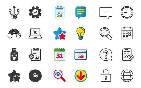 Usb flash drive icons. Notebook or Laptop pc symbols. CD or DVD sign. Compact disc. Chat, Report and Calendar signs. Stars, Statistics and Download icons. Question, Clock and Globe. Vector Illustration