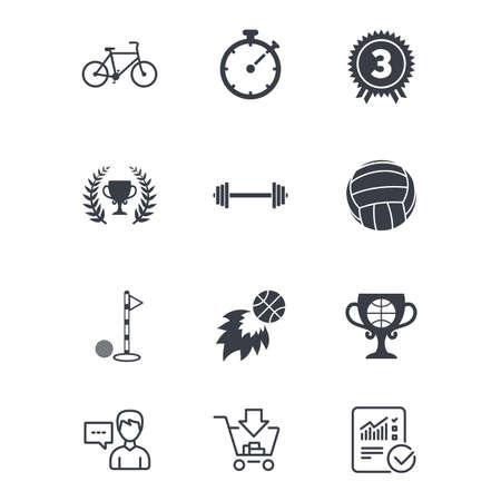 Giochi sportivi, icone di fitness. Segni di golf, pallacanestro e pallavolo. Timer, bici e simboli coppa del vincitore. Servizio clienti, carrello acquisti e segnaletica linea di segnalazione. Shopping e statistiche online. Vettore Archivio Fotografico - 82830217