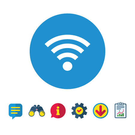 Wifi sign. Wi-fi symbol. Wireless Network icon. Wifi zone. Information, Report and Speech bubble signs. Binoculars, Service and Download icons. Vector Stock Vector - 82830223