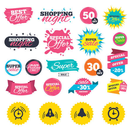 wake up call: Sale shopping banners. Alarm clock icons. Wake up bell signs symbols. Exclamation mark. Web badges, splash and stickers. Best offer. Vector Illustration