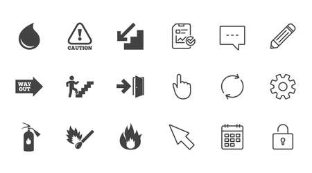 Fire safety, emergency icons. Fire extinguisher, exit and attention signs. Caution, water drop and way out symbols. Chat, Report and Calendar line signs. Service, Pencil and Locker icons. Vector 向量圖像