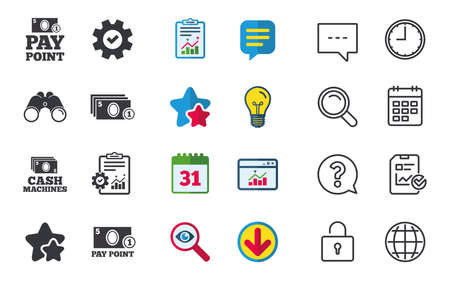 Cash and coin icons. Cash machines or ATM signs. Pay point or Withdrawal symbols. Chat, Report and Calendar signs. Stars, Statistics and Download icons. Question, Clock and Globe. Vector Illustration