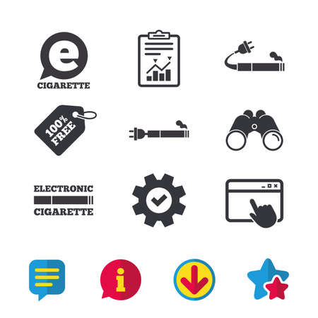 E-Cigarette with plug icons. Electronic smoking symbols. Speech bubble sign. Browser window, Report and Service signs. Binoculars, Information and Download icons. Stars and Chat. Vector