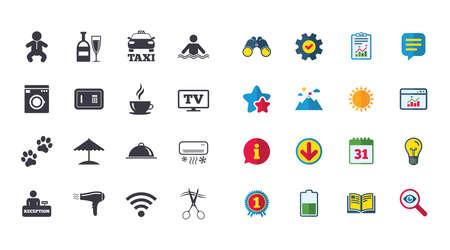 Set van pictogrammen voor hoteldiensten. Taxi, Wifi internet en zwembadborden. Koffie, wijnfles en symbolen voor airconditioning. Kalender, rapport en browservenster. Pictogrammen voor sterren, service en downloaden Stock Illustratie