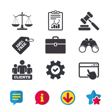 Schalen van Justitie pictogram. Groep klanten symbool. Veiling hamer teken. Law judge havel. Rechtszaal. Browservenster, rapport en serviceborden. Verrekijker, informatie en download pictogrammen. Vector