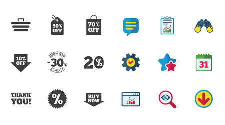 Sale discounts icon. Shopping cart, coupon and buy now signs. 20, 30 and 50 percent off. Special offer symbols. Calendar, Report and Download signs. Stars, Service and Search icons. Vector Illustration