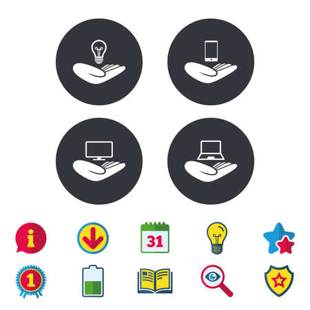 Helping hands icons. Intellectual property insurance symbol. Smartphone, TV monitor and pc notebook sign. Device protection. Calendar, Information and Download signs. Stars, Award and Book icons