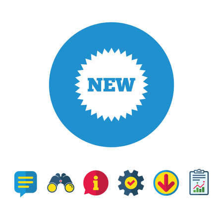New sign icon. New arrival star symbol. Information, Report and Speech bubble signs. Binoculars, Service and Download icons. Vector
