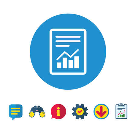 Text file sign icon. Add File document with chart symbol. Accounting symbol. Information, Report and Speech bubble signs. Binoculars, Service and Download icons. Vector 向量圖像