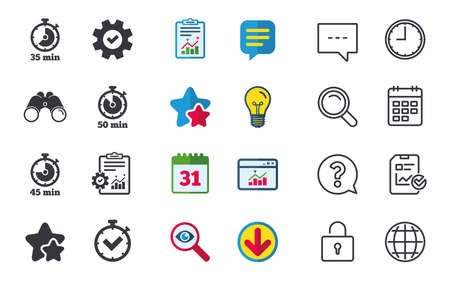 Timer icons. 35, 45 and 50 minutes stopwatch symbols. Check or Tick mark. Chat, Report and Calendar signs. Stars, Statistics and Download icons. Question, Clock and Globe. Vector Illustration