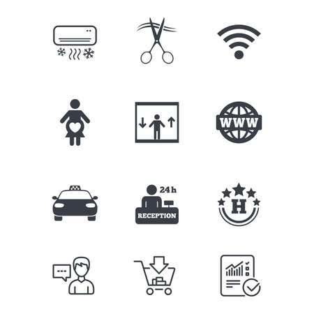 Hotel, apartment service icons. Barbershop sign. Pregnant woman, wireless internet and air conditioning symbols. Customer service, Shopping cart and Report line signs. Online shopping and Statistics Çizim