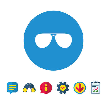 Aviator sunglasses sign icon. Pilot glasses button. Information, Report and Speech bubble signs. Binoculars, Service and Download icons. Vector Ilustração