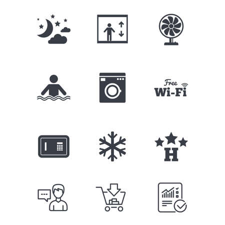 Hotel, apartment service icons. Washing machine. Wifi, air conditioning and swimming pool symbols. Customer service, Shopping cart and Report line signs. Online shopping and Statistics. Vector