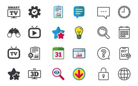 スマート 3 D テレビ モード アイコン。ワイド スクリーンのシンボル。レトロなテレビ、テレビは表な兆候です。チャット、報告書、カレンダーのサ