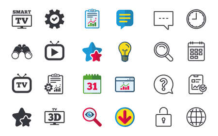 Smart 3D TV mode icon. Widescreen symbol. Retro television and TV table signs. Chat, Report and Calendar signs. Stars, Statistics and Download icons. Question, Clock and Globe. Vector