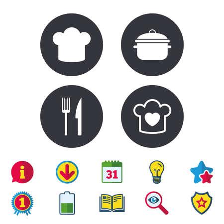 チーフの帽子と調理パン アイコン。フォークとナイフの兆候。沸騰または食品のシンボルのシチューします。カレンダー、情報およびダウンロード  イラスト・ベクター素材